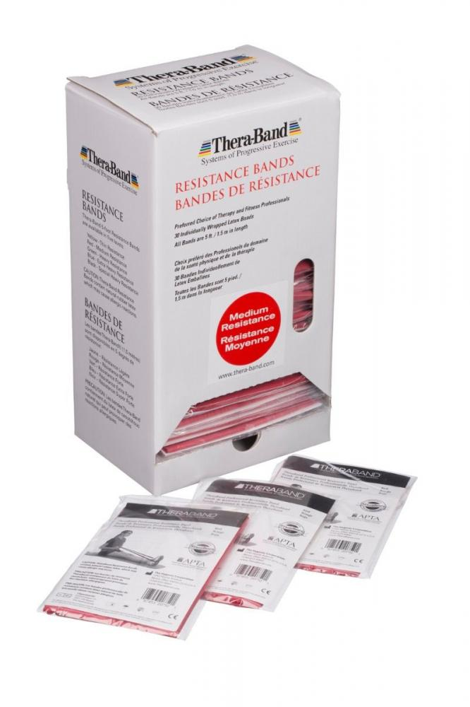 TheraBand Professional Latex Resistance Bands - 30 Band Dispenser - Medium Red