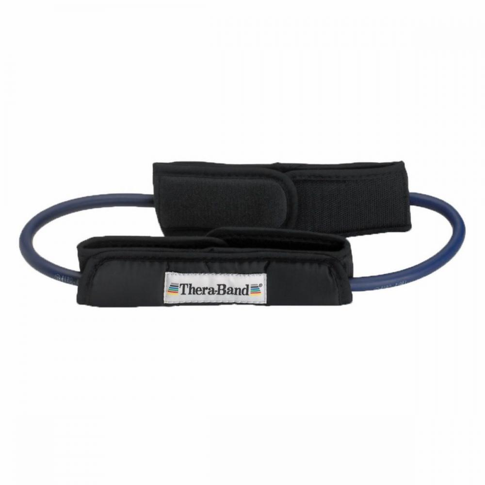TheraBand Professional Resistance Tubing Loop with Padded Cuffs - Blue, Intermediate/Advanced