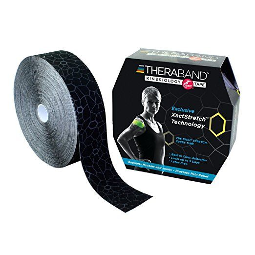 TheraBand Kinesiology Tape, Bulk Roll - 2 in. x 103.3' ft. Roll - Black/Grey