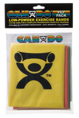 Low Powder Exercise Band Pep Pack - Easy with yellow, red and green band