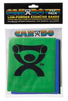 Low Powder Exercise Band Pep Pack - Moderate with green, blue and black band