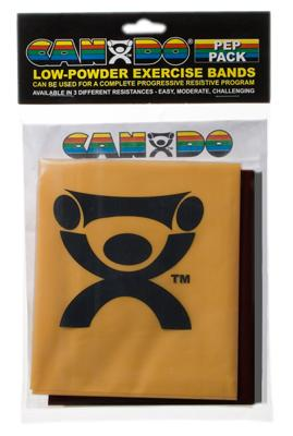 Low Powder Exercise Band Pep Pack - Challenging with black, silver and gold band