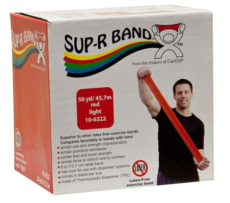 Sup-R Band Latex Free Exercise Band - 50 yard roll - Red - light
