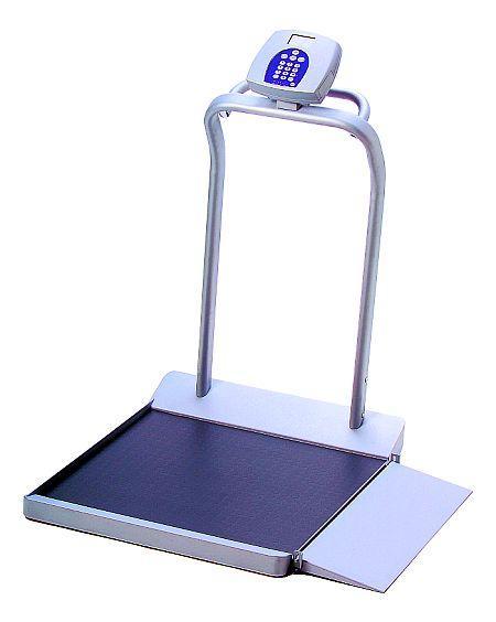 Digital wheelchair scale with handrails - lb/kg