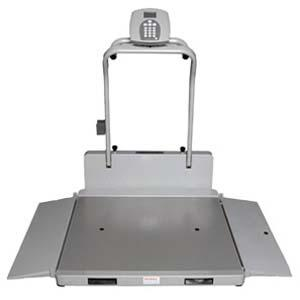 Portable/folding digital wheelchair scale w/ handrails - lb/kg -