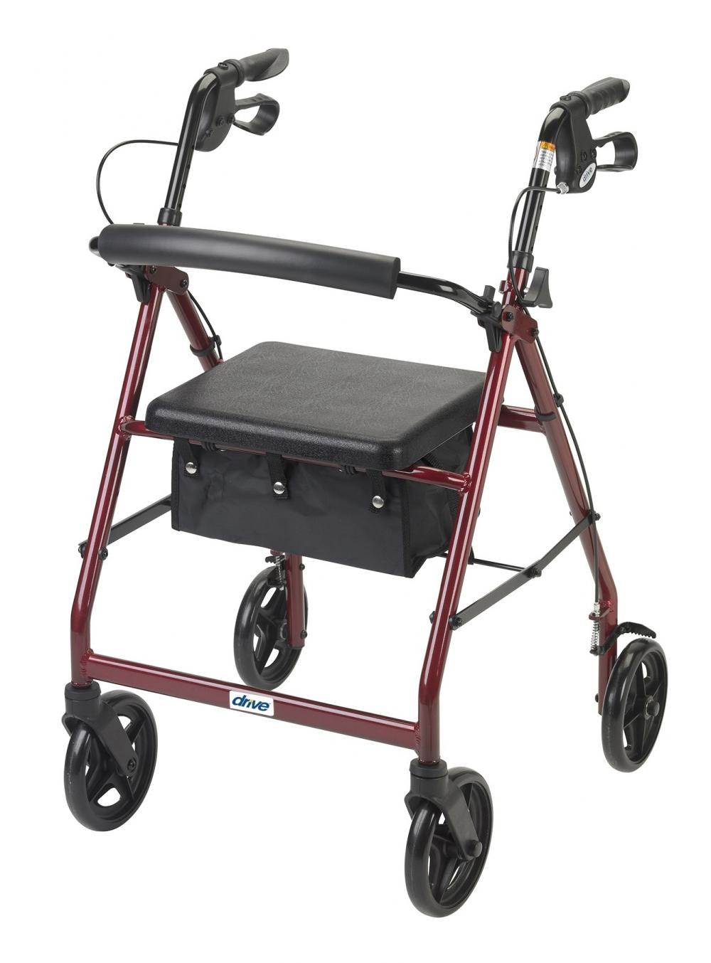 "Aluminum Rollator, 7.5"" Casters Fold-up and Removable Back Support, Padded Seat, Loop Locks"