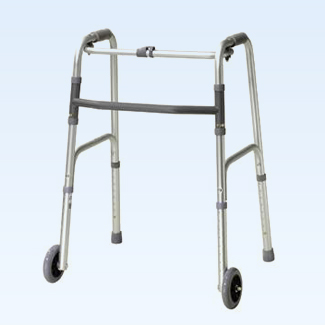 "Guardian palm release folding walker with 5"" wheels, adult"