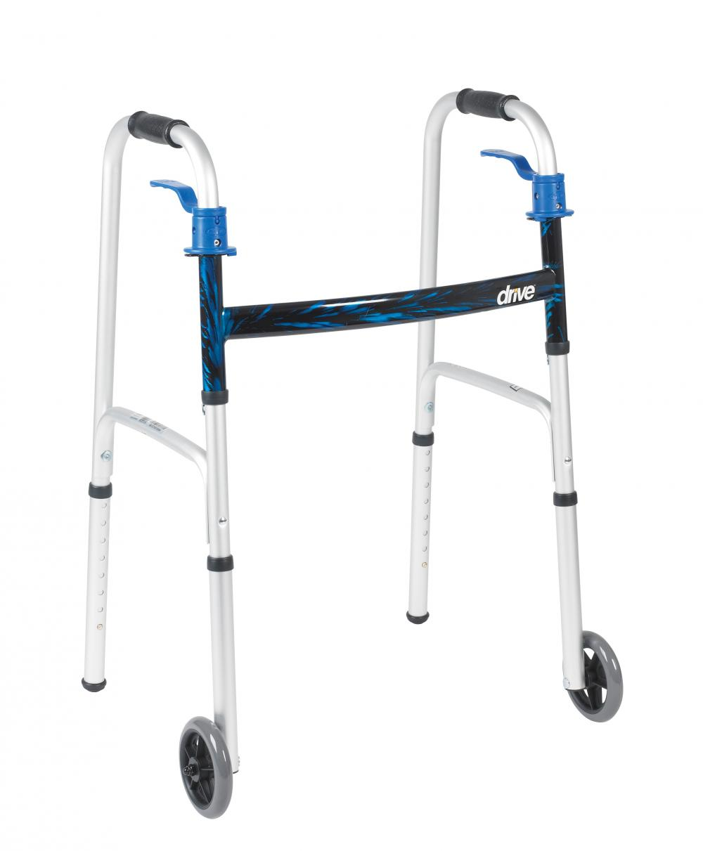 "Deluxe, Trigger Release Folding Walker with 5"" Wheels (4 pack)"