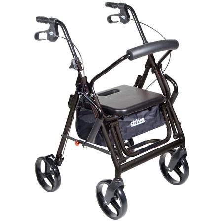 "Duet Rollator/Transport Chair, 8"" Casters Padded Seat, Loop Locks"