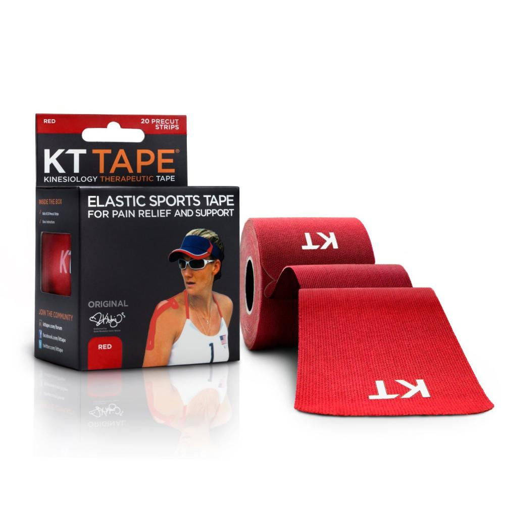 KT TAPE Original, Pre-cut, 20 Strip, Cotton, Red - 16 ft