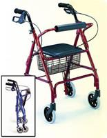 Four Wheeled Aluminum Rollator, blue