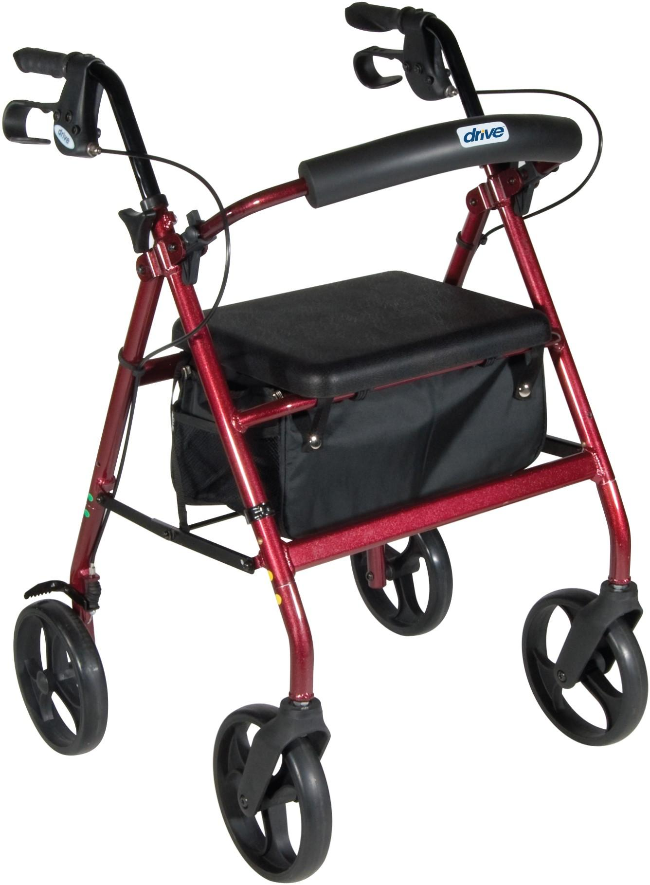 "Aluminum Rollator, 7.5"" Casters, Fold-Up and Removable Back Support, Flip-Up Seat, Removable Wheels, Loop Locks"