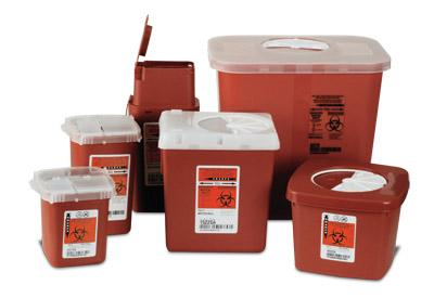 "Sage Bio-Hazard Container Slim 8900 - 1 quart (3.5"" x 3.5"" x 6"")"