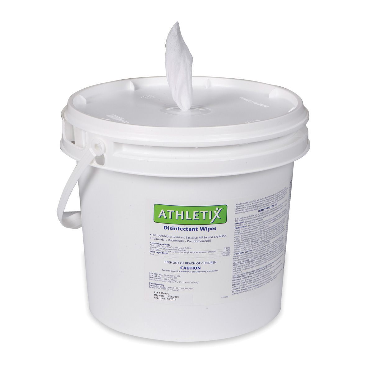 "Athletix Disinfectant Wipes, preloaded bucket - 8"" x 6"" (20 x 15cm) - 900/roll 1 bucket/case"